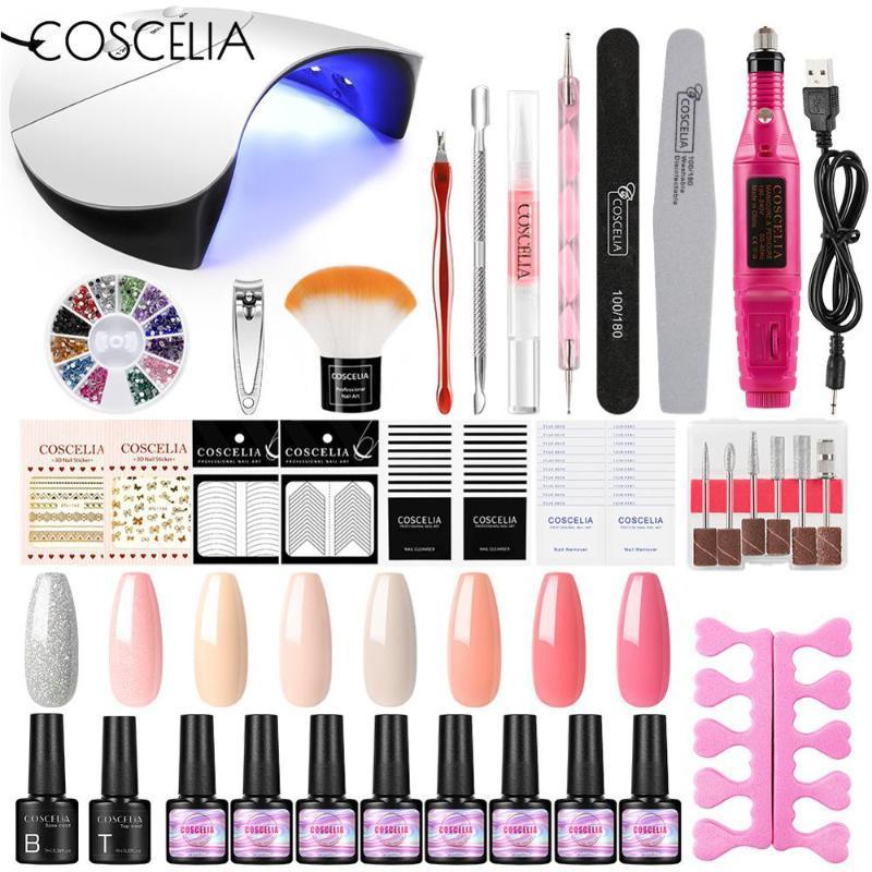 Coscelia 7ml Gel UV Varnish Set Outils Tous pour Manucure avec lampe 36W Semi Semi permanente Nails hybrides Art Kit DIY Design Outils