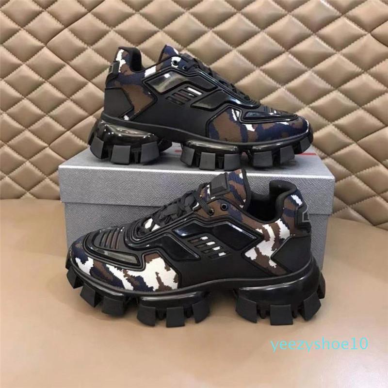Sapatos casuais 19FW nova Capsule Série camuflar Stylist Lates P Cloudbust Trovão ata acima Platform top de borracha sapatos baixos Y10
