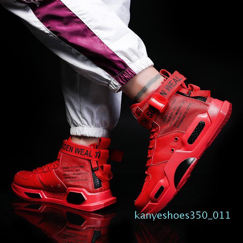 Homens Mulheres High-top Sneakers 2019 Hip Hop Estilo Casual Calçados masculinos vermelhos Verão Net Walking Shoes 1 designer de k11