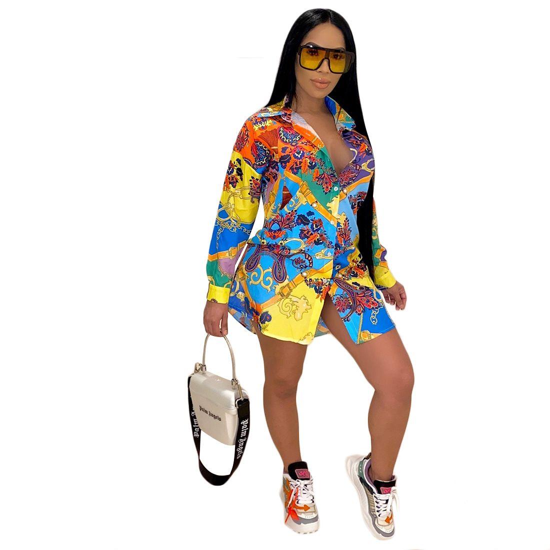 Sommer Street Drucken Hemd der Frauen Kleid Vintage elegante Bluse Frauen Herbst Revers Langarm-loses Shirt T-Shirt Minikleid
