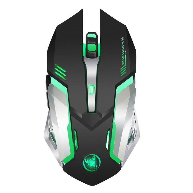 2.4G Gaming Mouse Ergonomische Wireless USB Rechargeble langlebiges Gut Leicht Fatigue reduzieren Computer-Adjustable Bunte Hintergrundbeleuchtung