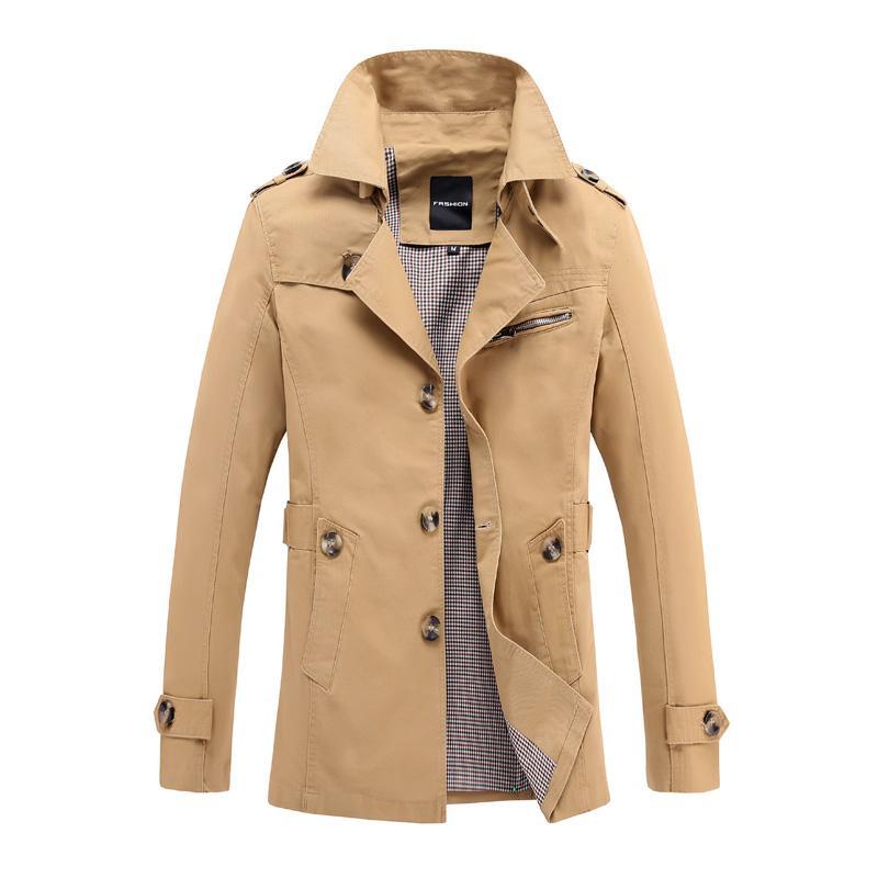 chaquetas de los hombres de gran tamaño mediano longitud de la capa de algodón cazadoras de los hombres de color sólido ocasional al aire libre chaquetas de un solo pecho