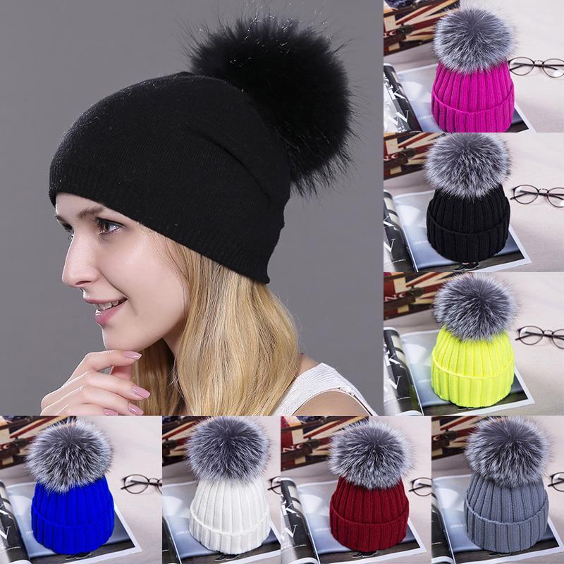 1шт Мода зимы женщин Hat Pom Poms Skullies Шапочки Зимняя мода Хлопок Трикотажные Hat Женщины Открытый мягкие женские Женские шапки