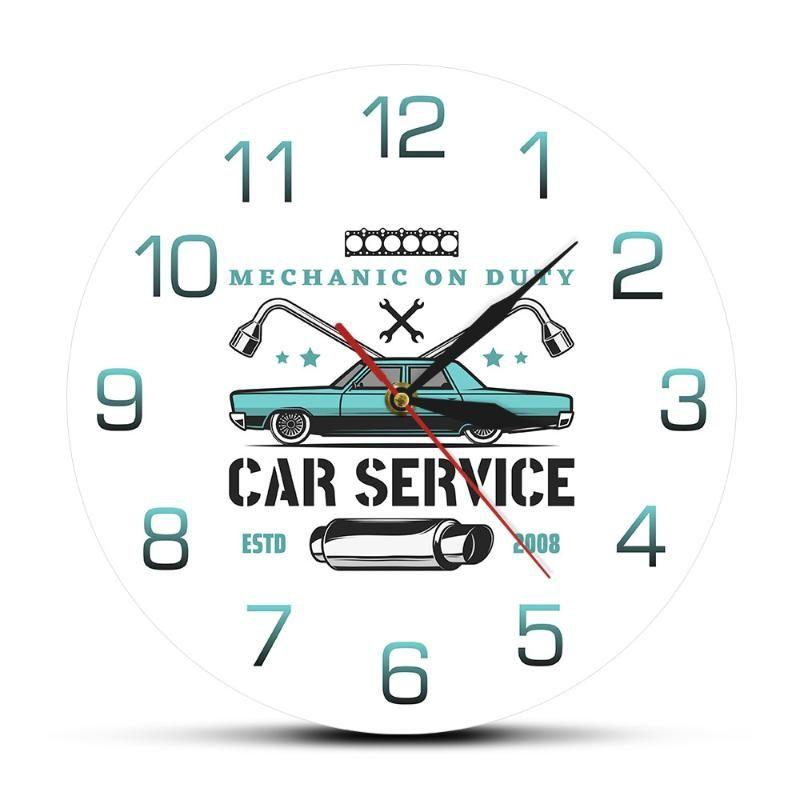 Personalizado de 12 pulgadas Mecánico Reparación De servicio Car Service impresión del reloj de pared Car Shop Garaje dibujo coloreadas Muro ¡SAATI reloj