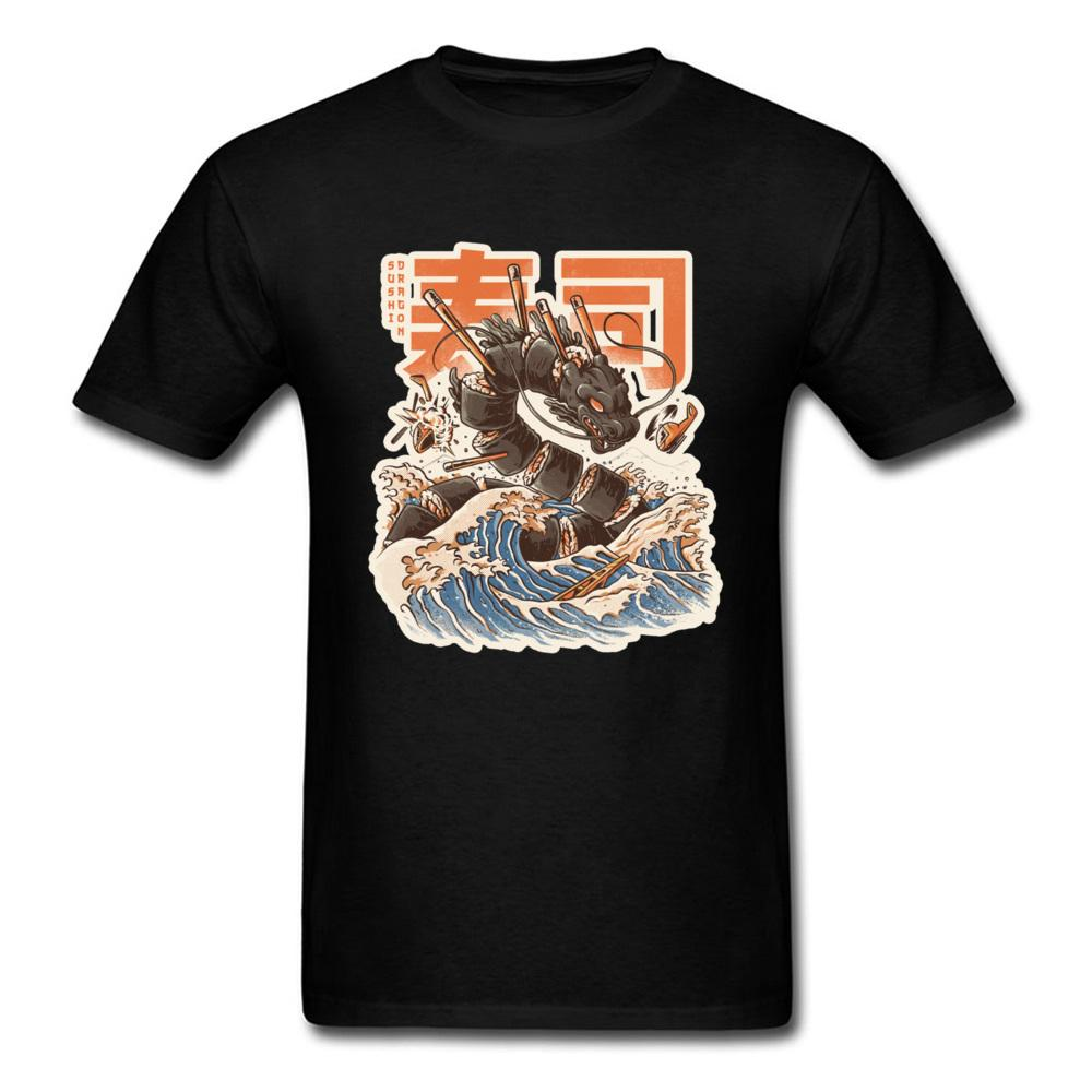 Hokusai Sushi Wave Dragon engraçado camisetas para Monster Men Untitled Moda Caprichoso japonês camisetas Mens New Tops Tees