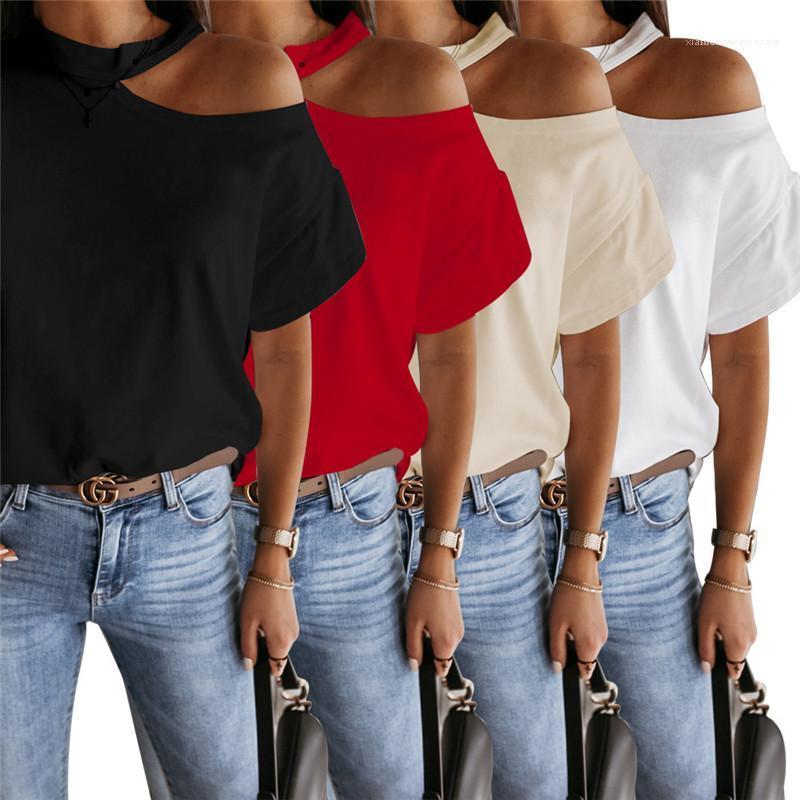 Solide Couleur en vrac Tees femmes à manches courtes Casual femmes d'été T-shirt de mode épaule O Neck Plan incliné