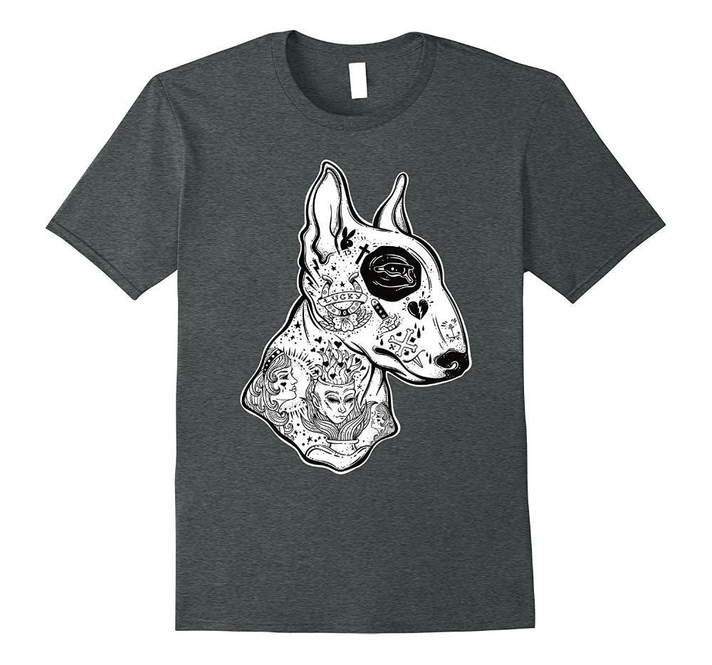 Imprimir T shirt dos homens de manga curta Hot Inked bull terrier T - T-shirt do tatuagem da velha escola engraçada do cão