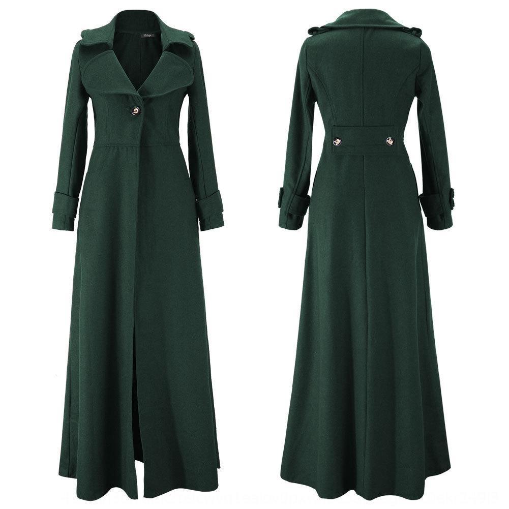 b3apC Otoño Invierno rompevientos nuevas similar a la lana y el escudo alargado abrigo cazadora de la fregona de ajuste estrecho mujeres