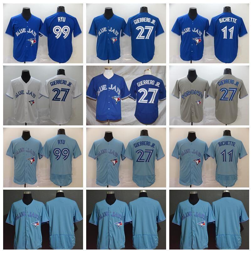 Мужчины 2020 бейсбол 27 Владимир Герреро Jr Jersey 11 B Бихет 99 Hyun-Jin Ryu All Shisted Blue Home White Grey Flexbase Cool Base