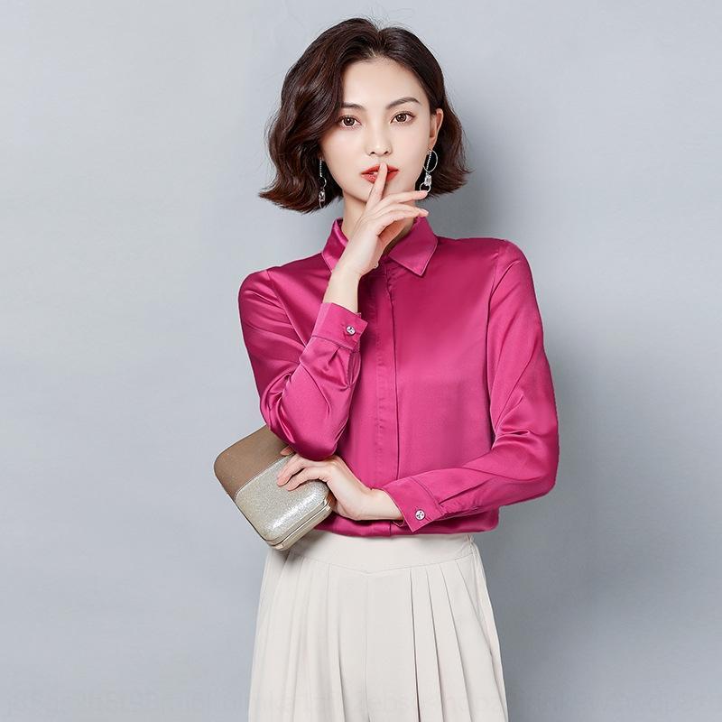 xYJqF 2qeYY 2020 camicia di imitazione della seta di gelso delle donne raso sottile fascia alta camicia top coat temperamento professionale tutto-fiammifero senso verticale f