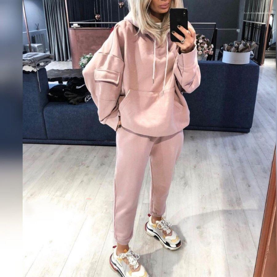 Hoodies Tracksuit Autumn Winter Pullover Hooded Sweatshirt Casual Trousers Famale Sport Suit Women Loose