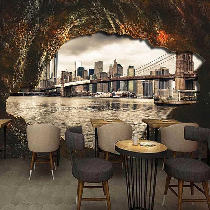 Пользовательские Любой Размер Mural Обои 3D Cave каменная стена Город Архитектура Fresco Ресторан Кафе фона Стена Papel De Parede 3 D