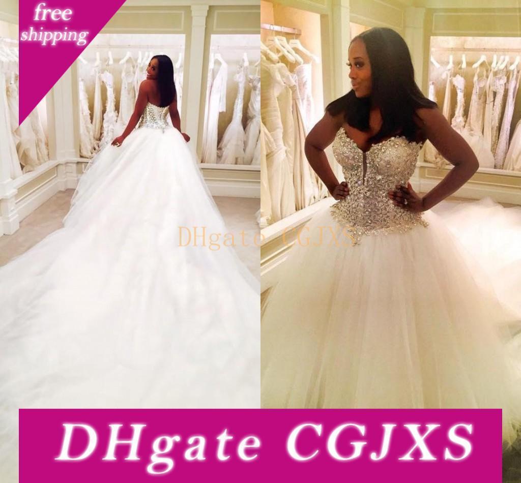 Lange Kapelle Zug Tüll Brautkleider Brautkleider 2018 Hochzeit Kleid Luxus-Schatz Ärmel Brautkleider China
