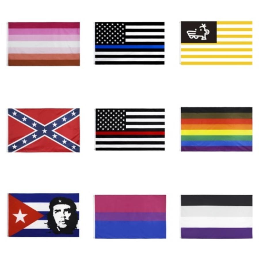 Партийные флаги Американский флаг Радуга Полиэстер Баннер Красочный 90 * 150 Cm украшения износостойкие Креатив Мода 15Lj F1 # 371