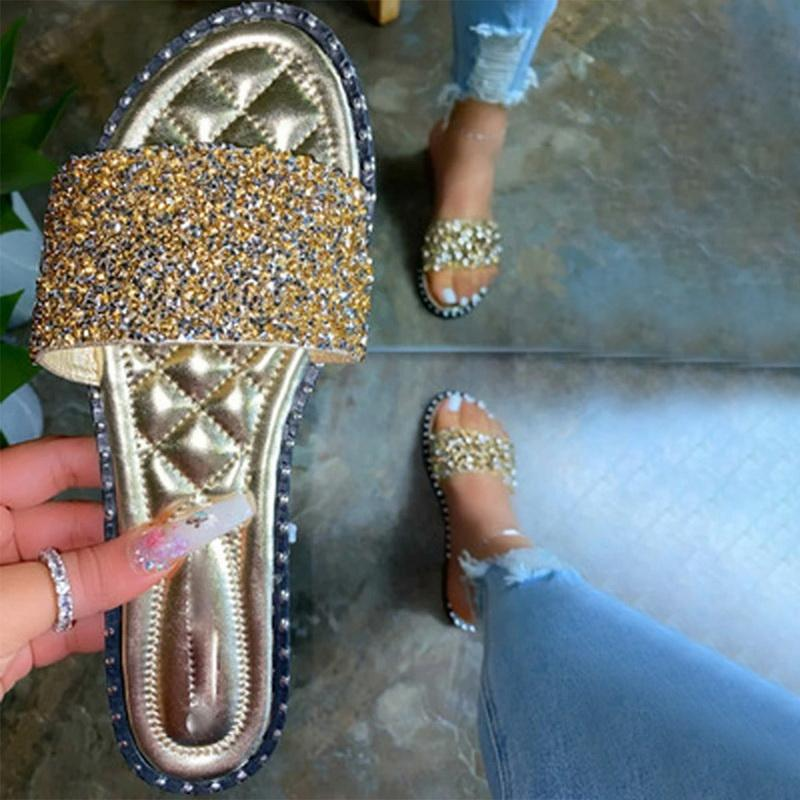 New Women Rhinestone Slippers Outdoor Wild Fashion Ladies Spring Summer Flat Bottom Multiple Color Casual Sandals Flip Flop 2020