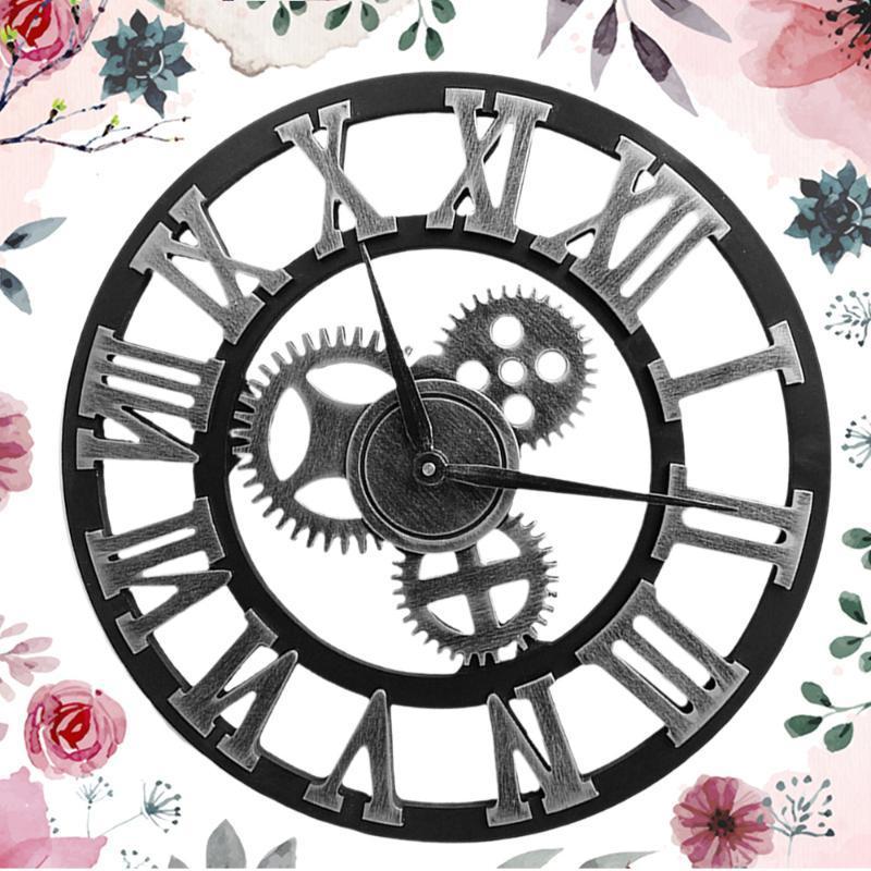 Reductores industriales reloj de pared decorativo reloj de pared de estilo industrial (30 cm Envío de oro sin batería)
