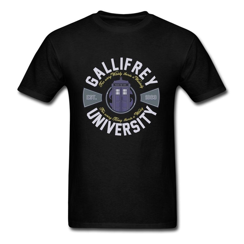 Universidad gallifrey camiseta blanca para los hombres sirven algodón natural de manga corta T-shirts personalizada flor camisas para chicos