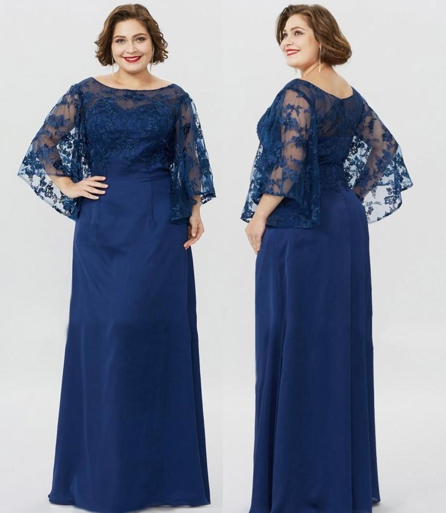 Plus Size Mother of the Bride Dresses Jewel Neck Lace Applique Mothers Dress For Weddings Sweep Train Formal Gowns For Mothers