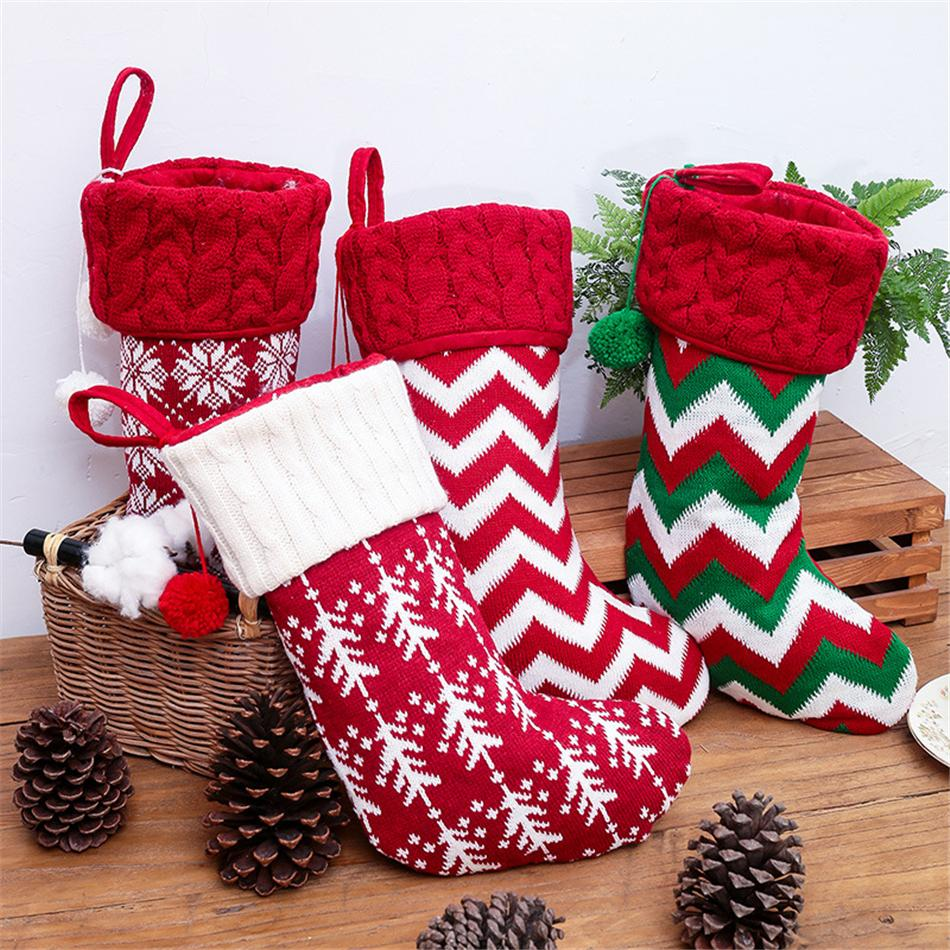 Calze natalizie Decor Christmas Trees Ornament Decorazioni per feste Santa Christmas Stocking Candy Socks Borse Borse Regali Xmas Borsa