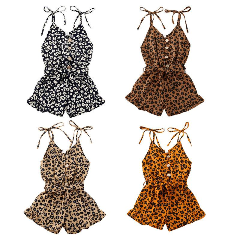1-6Y Kid Baby Girls Leopard barboteuses Bouton manches Salopette Tenues Tenues Mode MX200811