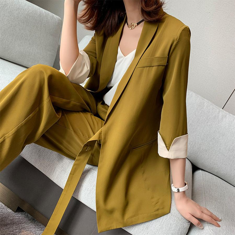 2020 New Summer Spring Women Lace Up Suit Notched Blazer Jacket & Wide Leg Pant Office Wear Suits Female Sets Plus Size 5xl