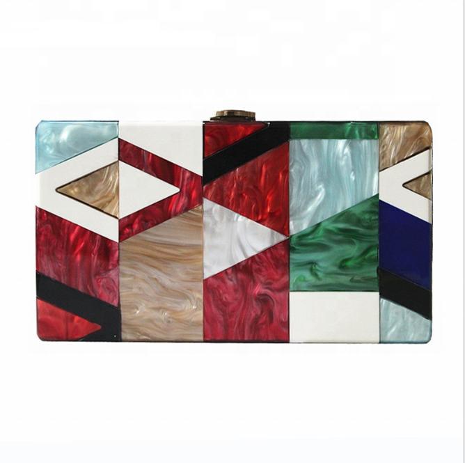 Womens Evening Handbag Purse Clutch Acrylic Stripes Shoulder Bag For Party Champagne Evening Bag