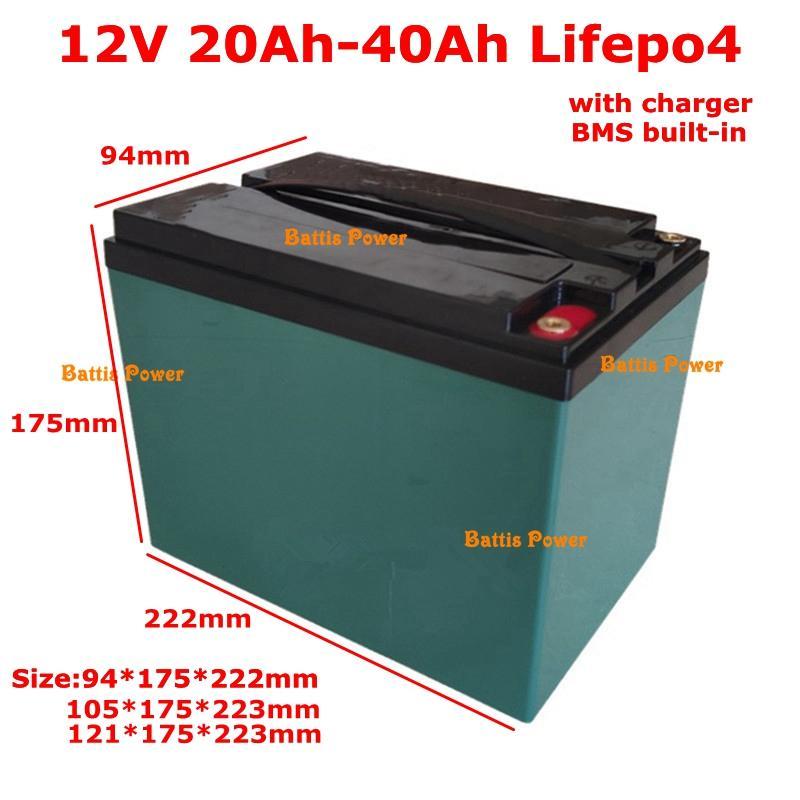 Portable 12V 20Ah 25Ah 30Ah 35ah 40Ah Lifepo4 lithium battery with BMS 4S for backup power bank solar panel UPS