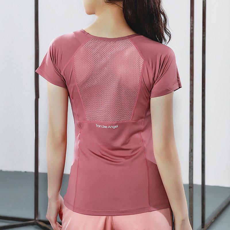 Kadınlar Yaz T Gömlek İnce Spor Fitness Yoga Kısa Kollu Yoga Üst Mesh Bayan Spor Gömlek Spor Giyim 2020