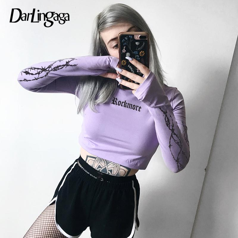 Darlingaga cotone tunica Moda a maniche lunghe maglietta femminile sottile parte superiore del raccolto delle donne di stampa tee t-shirt primavera 2020 abiti ritagliate
