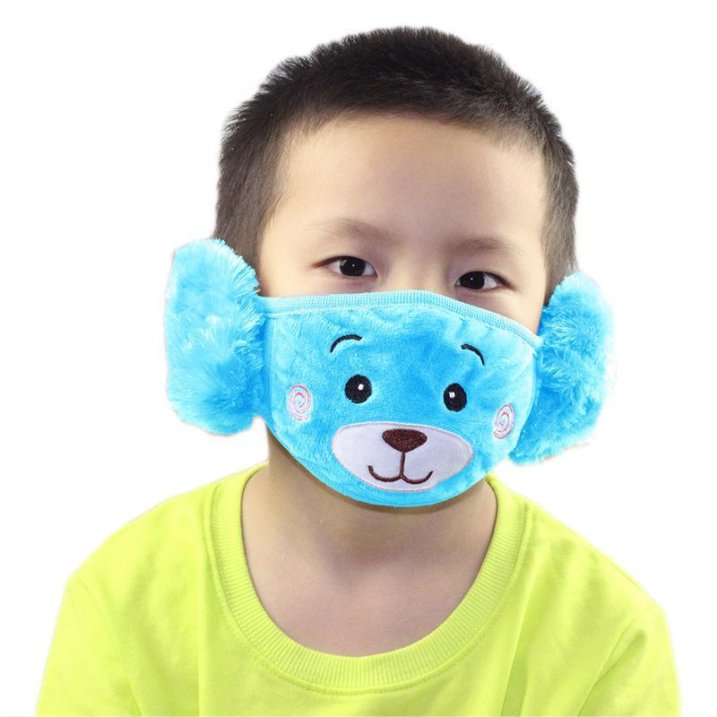 6style 2 في 1 للأطفال كارتون الدب قناع الوجه مع غطاء للأذنين القطيفة سميكة ودافئة أقنعة للأطفال الفم الشتاء فمه دثر GGA3660-2