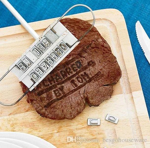 BBQ Barbecue Branding Eisen Werkzeuge mit wechselhaften 55 Buchstaben Feuer Marke Impressum Alphabet Outdoor Barbecue Koch Steak Fleischwerkzeug BC BH1095