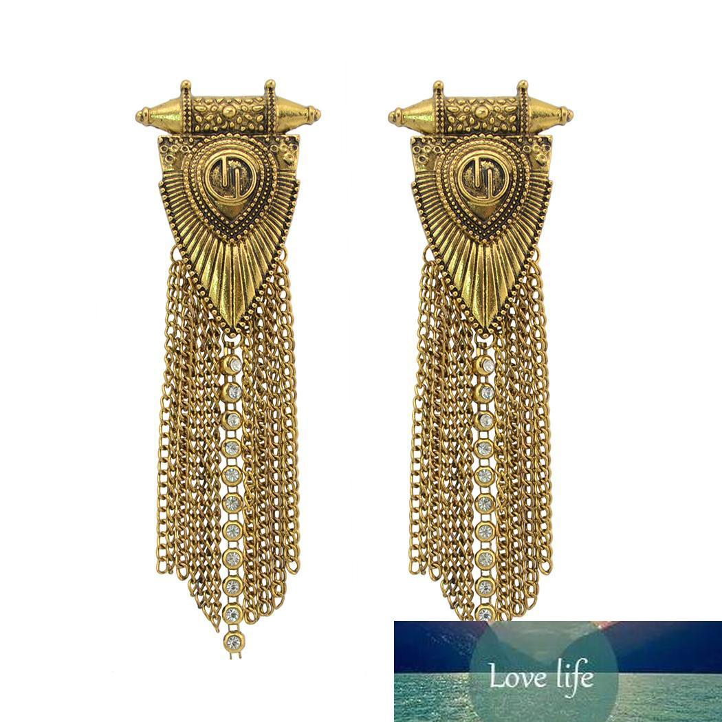 2 colores cadena de Bohemia Oro aleación de plata del Rhinestone pendientes de la borla cuelga de largo