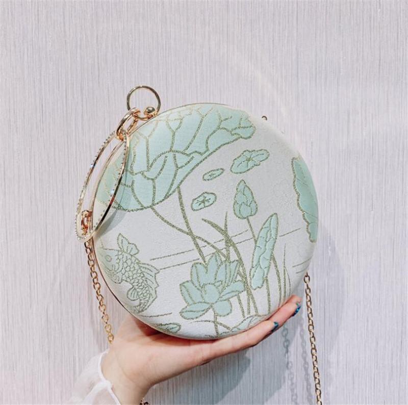 Вечерние сумки 2021 старинные напечатанные цветы алмазные банкетный кошелек с цепной кисточкой свадебные ужин кошельки капля MN1557