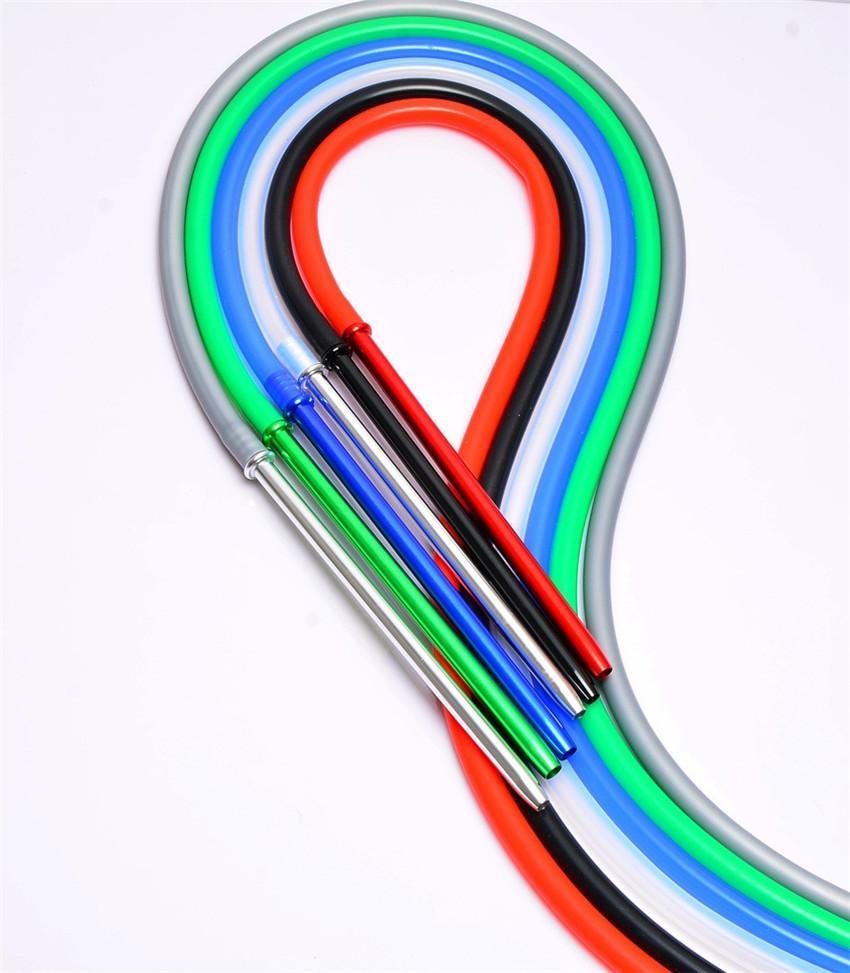 1.7M Алюминиевая ручка Стебель кальян Кальян силиконовый шланг силиконовый шланг Чича Narghile Шиша шланг трубы FDA Silcone кальянокурения A02
