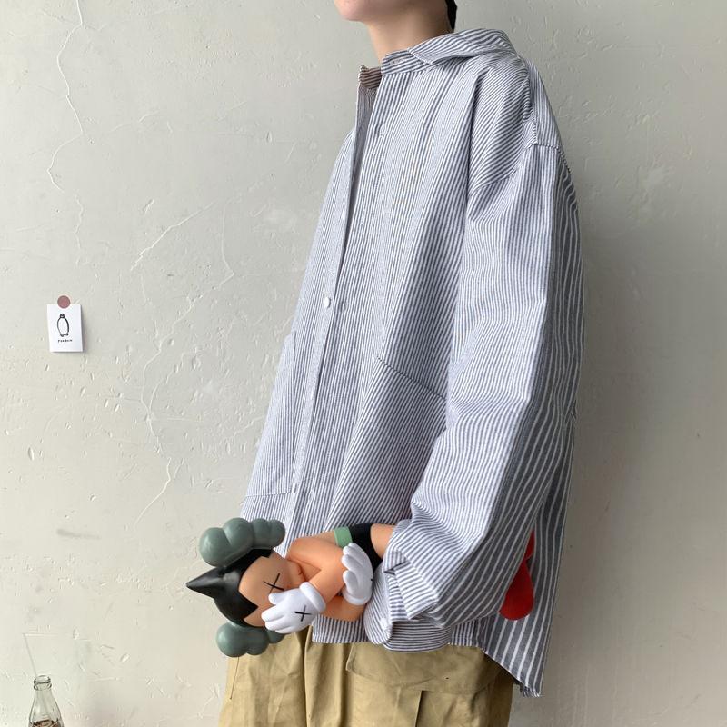 2020 Erkekler Çizgili Baskı Hawaii Gömlek Uzun Kollu Trendy Yakışıklı Gömlek Camisa Sosyal Masculina Streetwear Gömlek M-XL