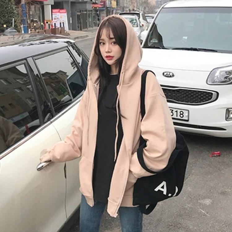 Nouveau bf printemps pull paresseux vent coréen et automne chandail mince pour les étudiantes 2020 loose à capuchon lâche de femmes KDE8t