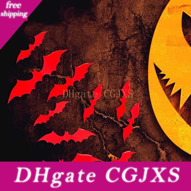 Halloween Party Supplies diy Stickers muraux Wall Sticker décoration d'Halloween Bats Effrayant Pvc 3d Accueil fenêtre Décoration Noir