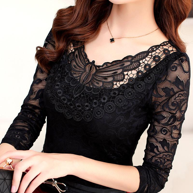 Hollow Out Lace Blouse Elegant Shirt Ladies Tops M-4XL Crochet Long Sleeve Embroidery Patchwork Women Blouses Tops DF1296 Y200827