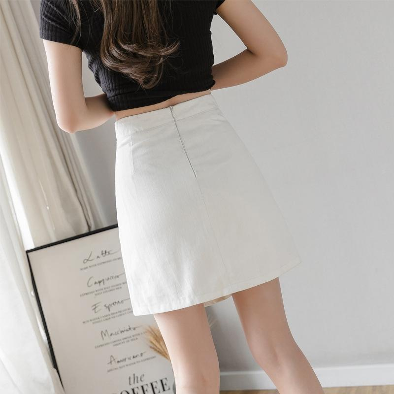 YwbTQ Один клик лето двубортный высокий новый а-формы анти-воздействия белых талии женщин Джинсовая юбка джинсовая юбка