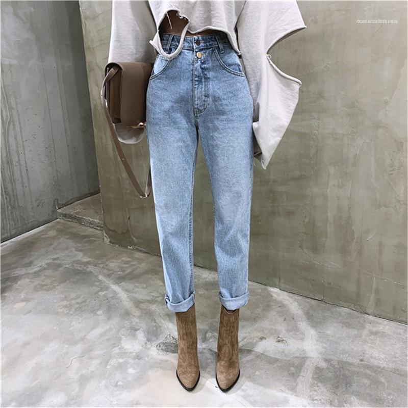 Damen Jeans Vintage-hohe Taillen-Jeans mit geradem Schnitt Hosen für Frauen Street Loose Women Denim Jeans Buttons Zipper