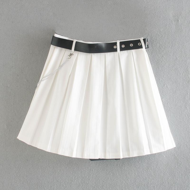 estilo coreano das LjYpo mulheres roupas eG9pq 2020 Verão plissado alta cadeia cinto decorativo saia plissada nova Y9142 overskirt