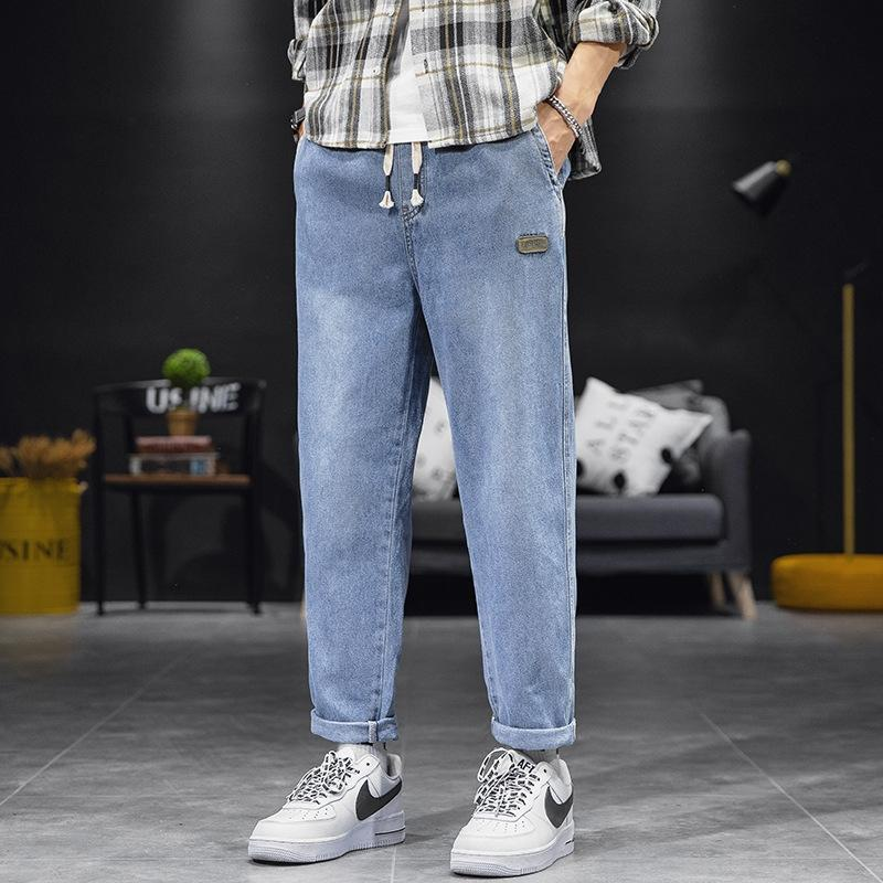 DVWxr pantalones vaqueros flojos pantalones de papá rectos de los hombres colgante Pantalones ov pantalones de estilo de moda de Corea del colgante del todo-fósforo WAIS pantalones elásticos hasta los tobillos