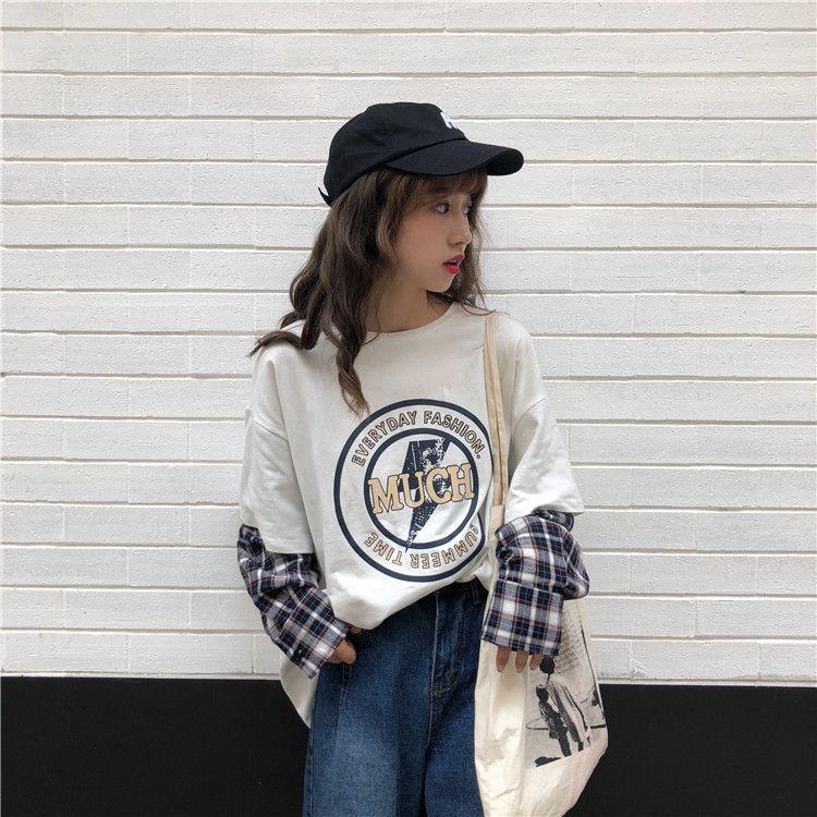 delle donne eEAfQ Riruk autunno coreano stile bfstyle corte Maglia T-shirt a quadri a maniche lunghe falso in due pezzi del cappotto allentato pullover girocollo swea