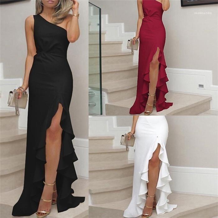 Nó plissadas com painéis vestidos de festa fêmeas Sexy OL Bodycon Senhoras vestido plissado alta Dividir vestido do verão Designer Womens um ombro