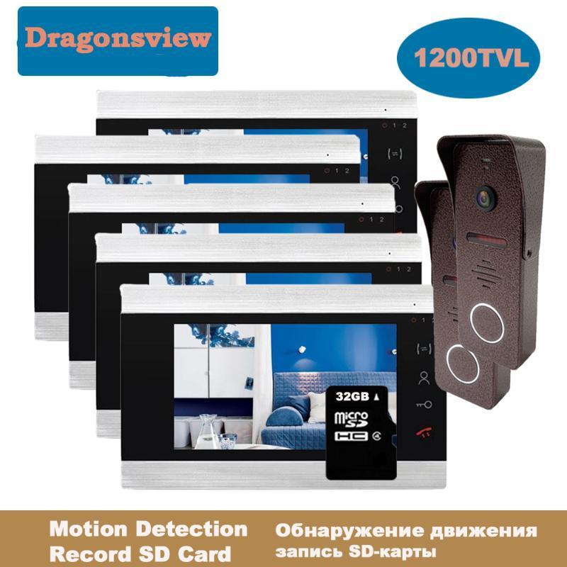 Dragonsview Wired Video Intercom System Video Doorbell Camera Door Phone 3 4 5 6 Monitors 7 Inch 2 Outdoor Panels Record
