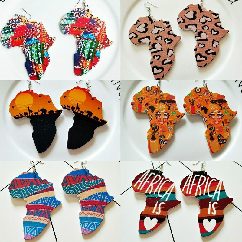부족 나무 아프리카지도 DIY 다채로운 회화 아프리카 귀걸이 라운드 나무 보헤미안 아프리카 보헤미아의 귀 보석 파티 액세서리