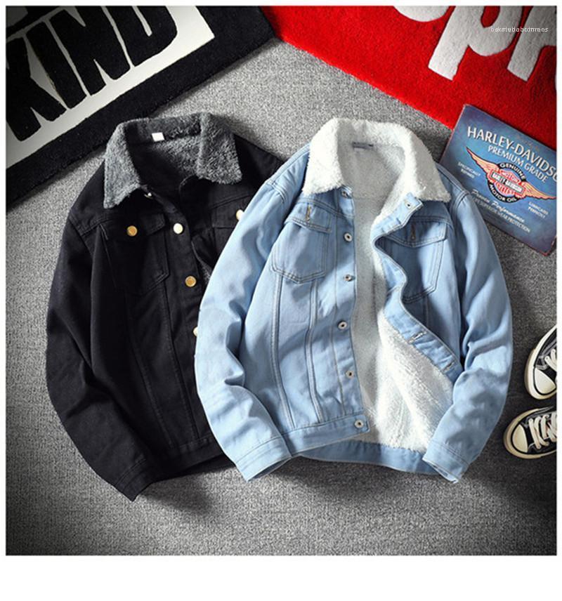 La solapa del cuello color puro chaquetas de bolsillo solo pecho Manga larga de felpa Chaqueta para hombre otoño Ropa para Hombres Casual
