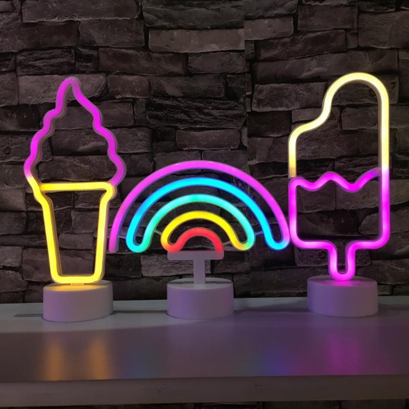 네온 사인 USB LED 장식 유니콘 플라밍고 램프 문 무지개 가정용 아이 룸 어린이를위한 침대 옆 밤 빛 장식 빛