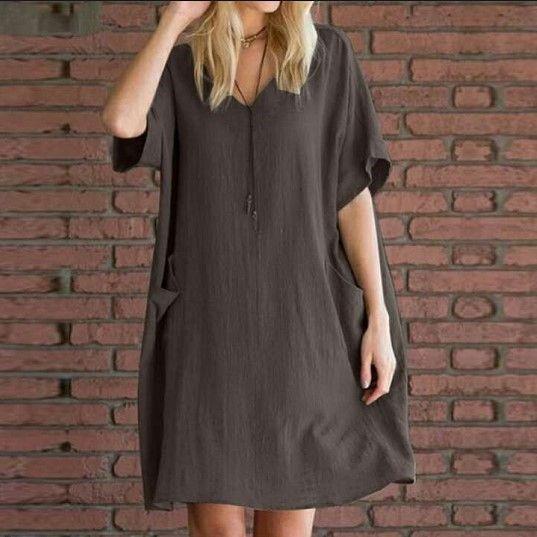 vestido bQiGV 2020 Nueva bolsillo V-cuello de la manga corta de verano 2020 nuevo más el bolsillo suelta sh gLK4P V-cuello de las mujeres suelta más el tamaño de las mujeres del verano