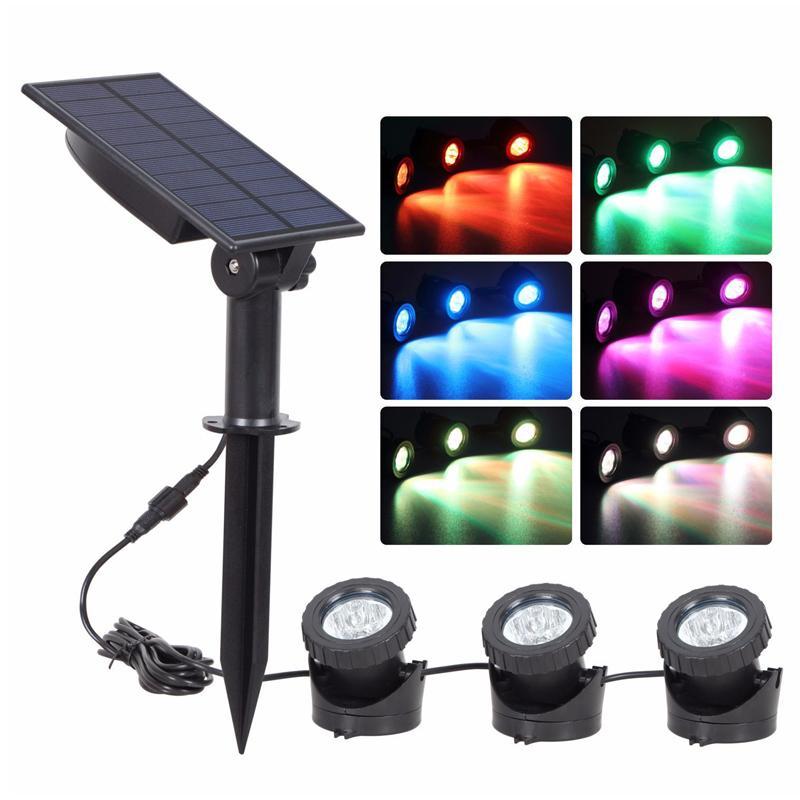 강화 된 3 개 전구 잠수함 스포트 라이트 (18) LED RGB 가든 풀 연못 램프 중 조명 방수 충격 방지와 태양 전지 패널